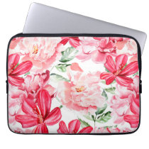 Blush Watercolor Floral Pattern Computer Sleeve