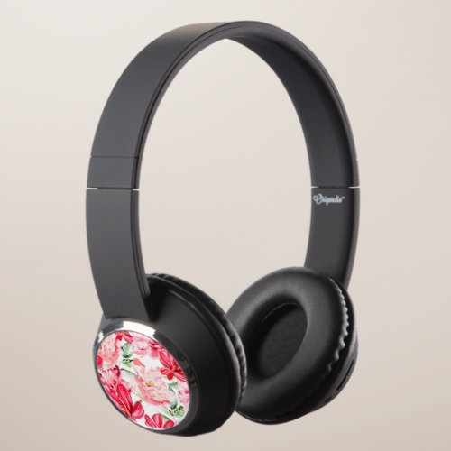 Blush Watercolor Floral Pattern Headphones