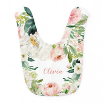 Blush Watercolor Florals Baby Bib