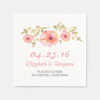 blush watercolor flowers romantic wedding paper napkin