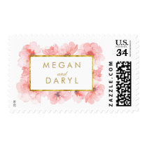 Blush Watercolor Gold Floral Wedding Postage