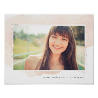 Blush watercolor graduation photo print faux foil