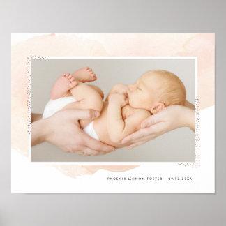 Blush watercolor new born photo print