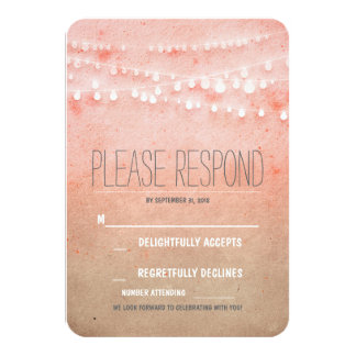 Blush watercolors string of lights wedding RSVP 3.5x5 Paper Invitation Card
