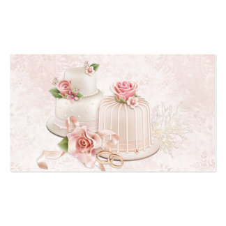 Blush Wedding Cakes with Roses, Bakery Double-Sided Standard Business Cards (Pack Of 100)