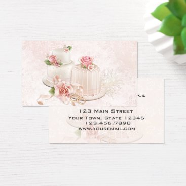 Professional Business Blush Wedding Cakes with Roses, Bakery Business Card