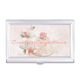 Blush Wedding Cakes with Roses, Bridal Shower Case For Business Cards