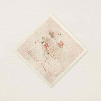 Blush Wedding Cakes with Roses, Bridal Shower Paper Napkin