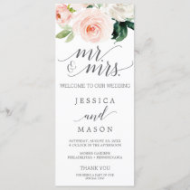 Blush Wedding Program Blushing Blooms