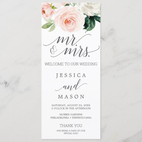 Blush Wedding Program Blushing Blooms