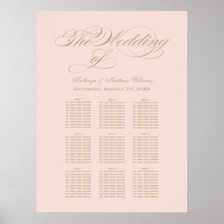 Blush Wedding Seating Chart | Gold Calligraphy