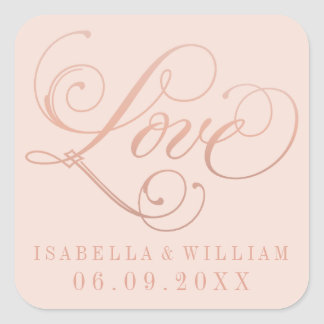 Blush Wedding Stickers | Love in Rose Gold