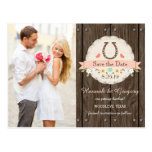 Blush Western Horseshoe Save the Date Postcard