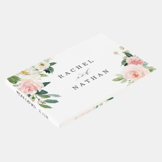 Blush White Bloom Floral Wedding Guestbook