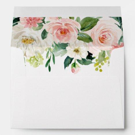 Blush White Bloom Pre-Printed Address 5x7 Envelope