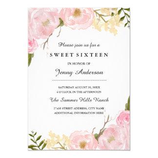 Blush White Botanical Floral Sweet Sixteen Invite