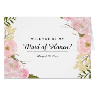 Blush White Botanical Will You Be My Maid of Honor Card