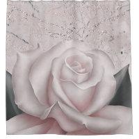 Blush White Rose Glam Modern Marble Shabby Chic Shower Curtain