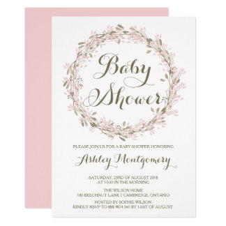 Blush Winter Wreath Baby Shower Invitation
