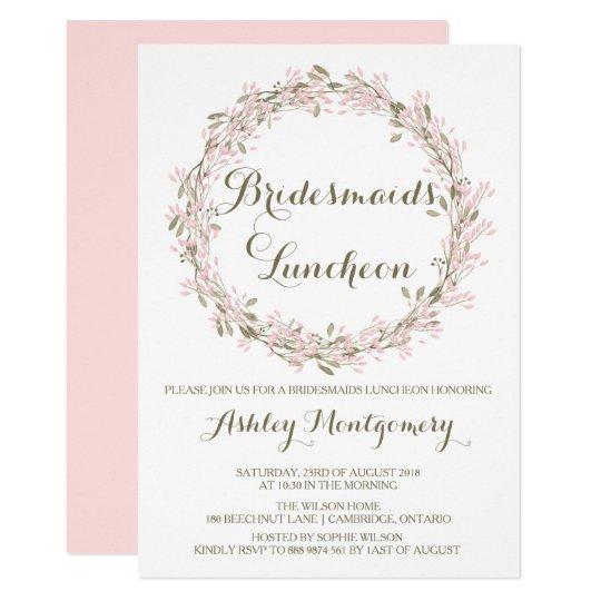 Blush Winter Wreath Bridesmaids Luncheon Invite Zazzle Com
