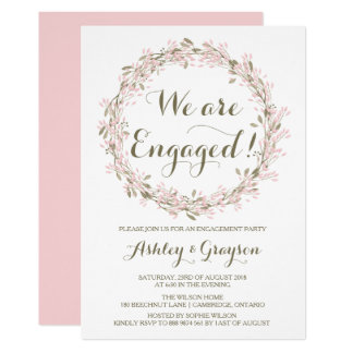 Blush Winter Wreath Engagement Party Invitation