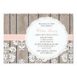 Blush Wood Lace Rustic Bridal Shower Invitations