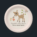 "Blush Woodland Deer Baby Girl Shower Paper Plate<br><div class=""desc"">A SWEET AND PRETTY BABY DEER LOOKS CURIOUSLY AT A LITTLE BROWN BIRD PERCHED ON AN ORANGE MUSHROOM TOADSTOOL NEXT TO A DAISY FLOWER. A SPRING WHITE CHERRY BLOSSOM TREE HOLDS A BIRD&#39;S NEST WITH A BLUSH PINK EGG IN IT. YOU CAN CUSTOMIZE THE PAPER PLATE WITH THE MOM&#39;S NAME...</div>"