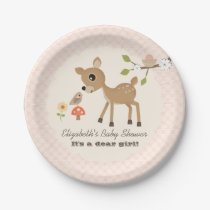 Blush Woodland Deer Baby Girl Shower Paper Plate