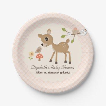 Toddler & Baby themed Blush Woodland Deer Baby Girl Shower Paper Plate