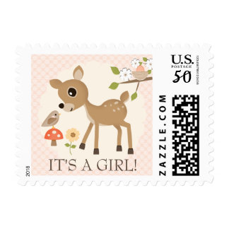 BLUSH WOODLAND DEER BABY POSTAGE STAMP