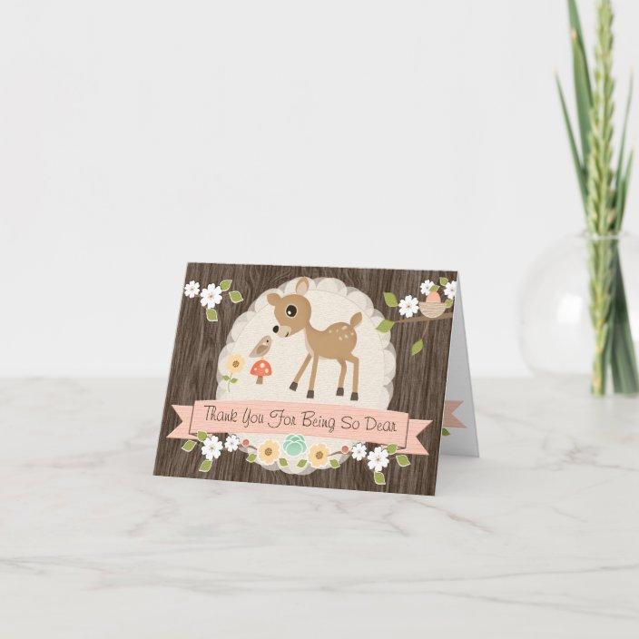 blush woodland deer baby shower thank you card  zazzle