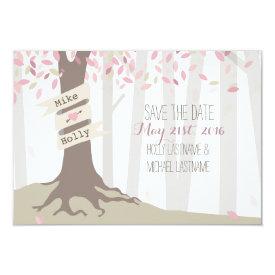Blush Woodland Wedding Save The Date 3.5x5 Paper Invitation Card