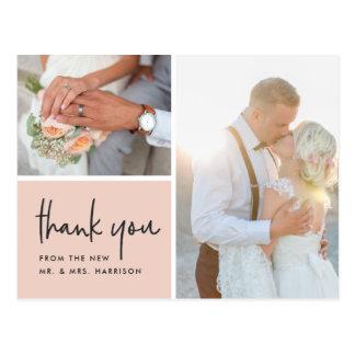 Blushed Gratitude   Wedding Photo Thank You Postcard