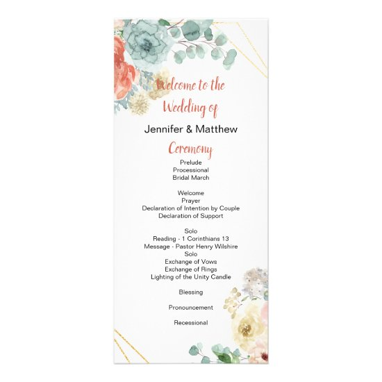 Blushing Apricot Floral Wedding Program