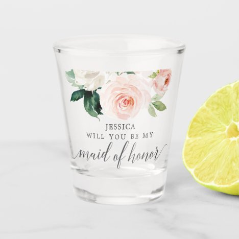 Blushing Blooms Maid of Honor Proposal Shot Glass