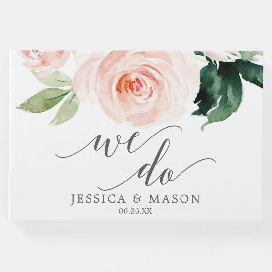 Blushing Blooms Wedding Guest Book
