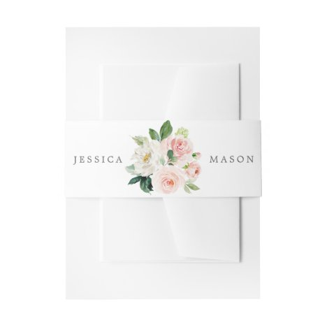 Blushing Blooms Wedding Invitation Belly Bands Invitation Belly Band