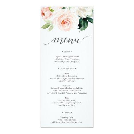 Blushing Blooms Wedding Menu or Bridal Shower Menu Invitation