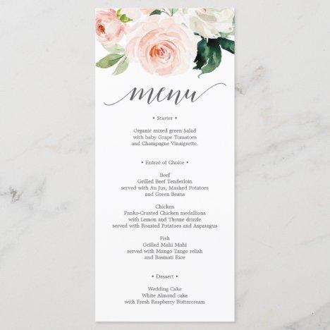 Blushing Blooms Wedding Menu - Wedding Menus