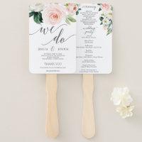 Blushing Blooms Wedding Program Fan