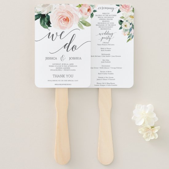 Blushing Blooms Wedding Program Fan