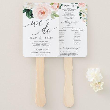 Blushing Blooms Wedding Program Fans Flowers