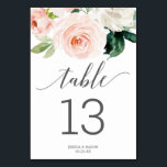 """Blushing Blooms Wedding Table Numbers Double Sided<br><div class=""""desc"""">Help your guests easily find their way with these lovely double sided table number cards. Easily edit the numbers,  names and date! This design features a beautiful blush floral bouquet and elegant script font!</div>"""