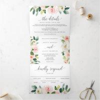 Blushing Blooms Wedding Tri-Fold Invitations RSVP