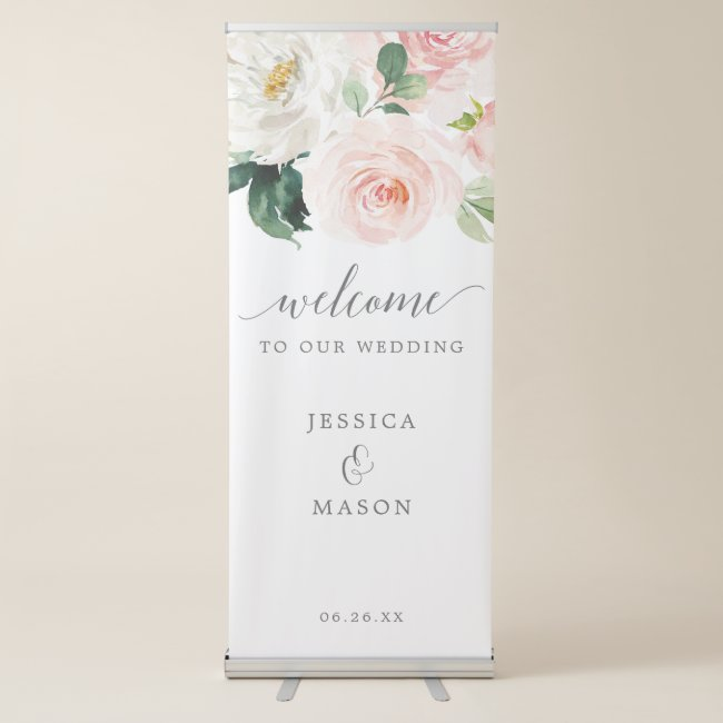Blushing Blooms Wedding Welcome Banner with Stand