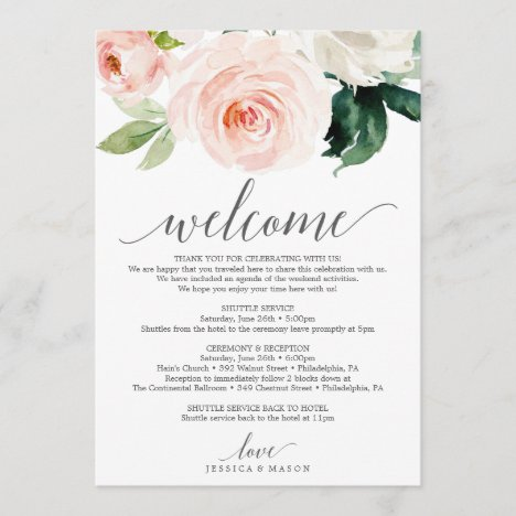 Blushing Blooms Wedding Welcome Itinerary Letter Program