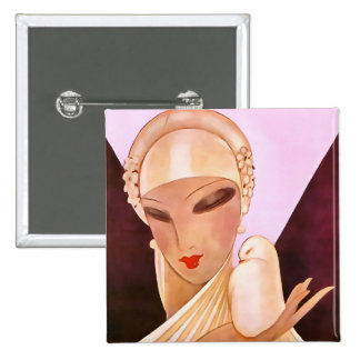 Blushing Bride Vintage Art Deco Illustration Button