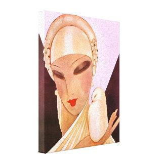 Blushing Bride Vintage Art Deco Illustration Canvas Print