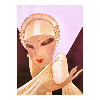 Blushing Bride Vintage Art Deco Illustration Card