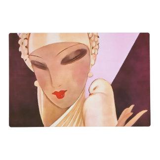 Blushing Bride Vintage Art Deco Illustration Placemat
